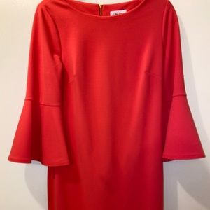 Coral Calvin Klein Bell Sleeve Dress, wore once.